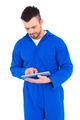 Mechanic pointing on digital tablet on white background