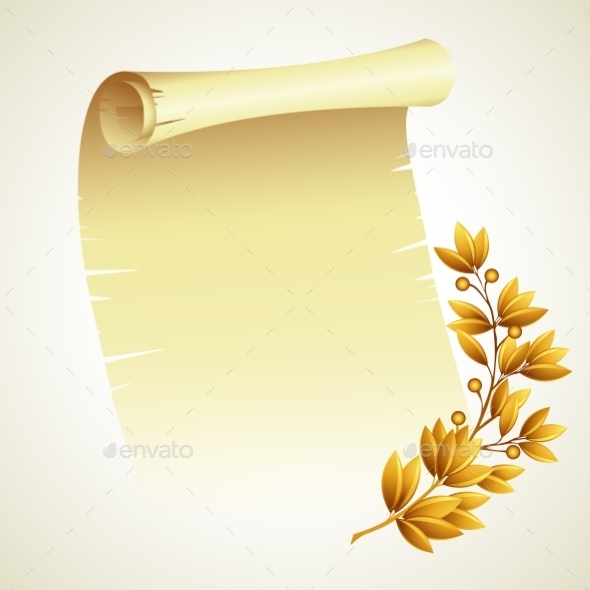 GraphicRiver Laurel Branch and a Scroll 10551042
