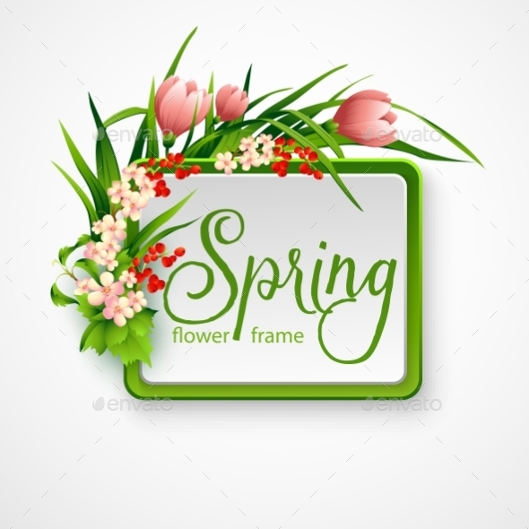 GraphicRiver Spring Frame with Flowers 10551058