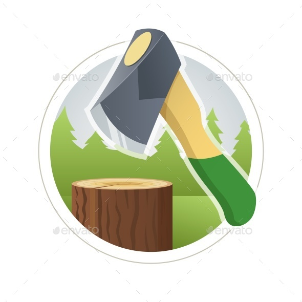GraphicRiver Ax Chop Wooden Log 10551060