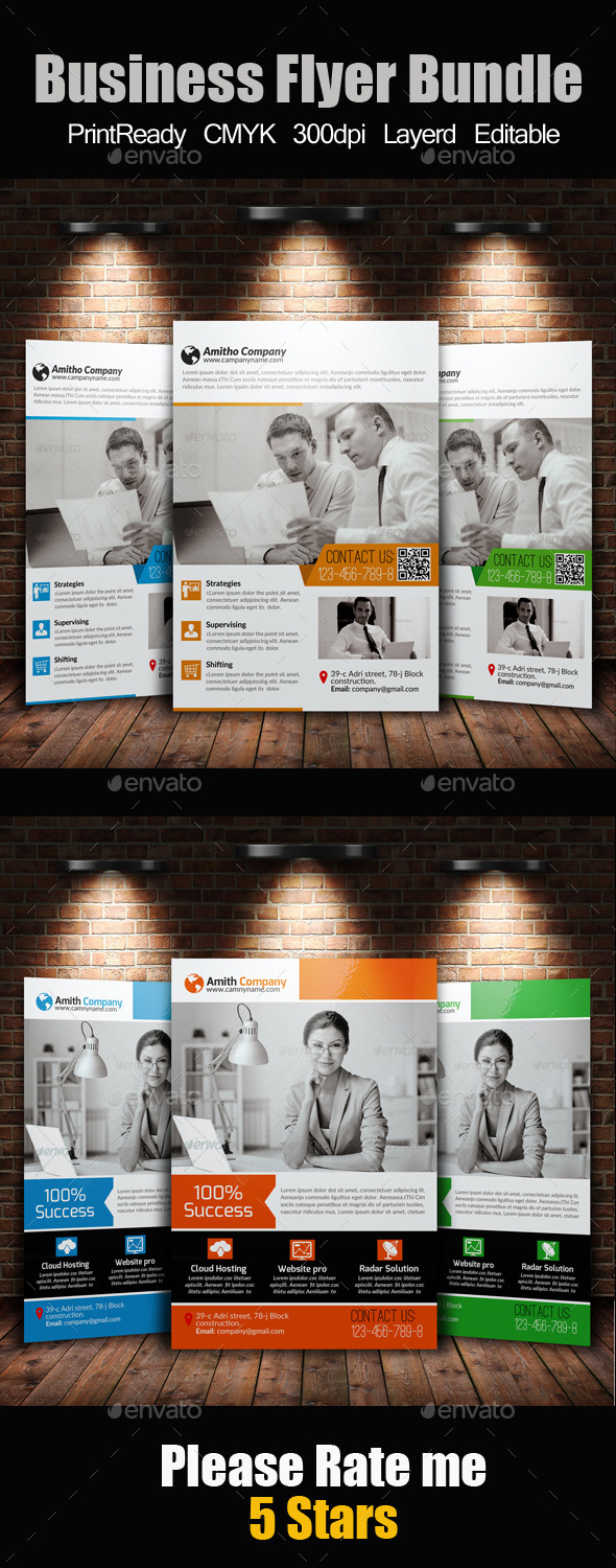 GraphicRiver A4 Business Flyer Template Bundle 10551081