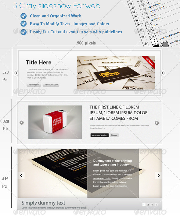 3 Gray Web SlideShows - GraphicRiver Item for Sale