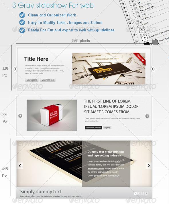 3 Gray Web SlideShows