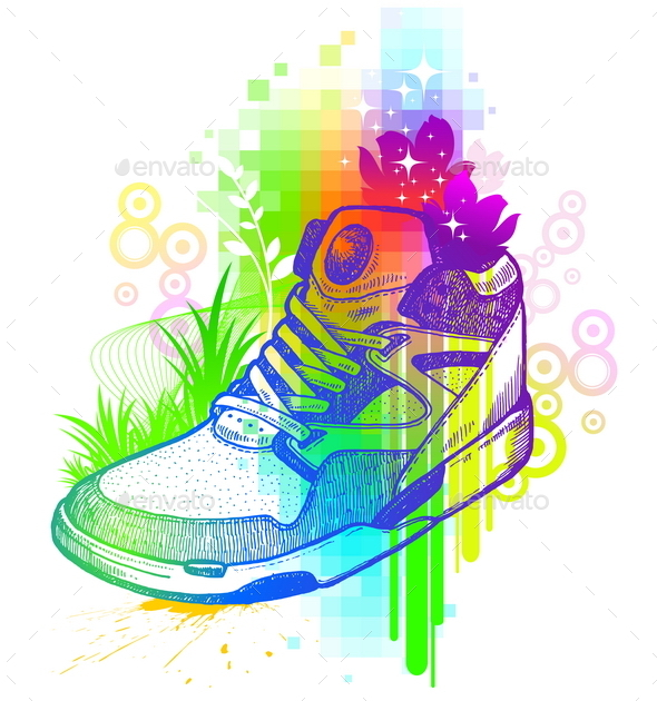 GraphicRiver Abstract Colorful Illustration with Sneaker 10552534