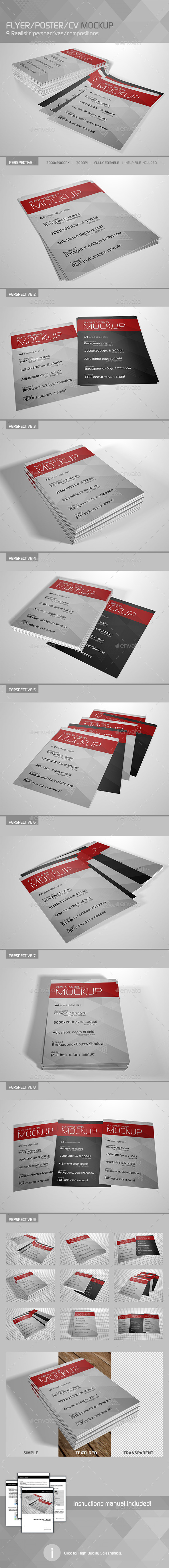 GraphicRiver Realistic Flyer Poster CV Mockup 3 10555544