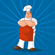 Confident Cook on Blue Background - GraphicRiver Item for Sale