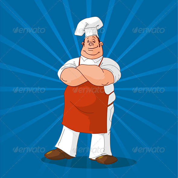Graphic River Confident Cook on Blue Background Vectors -  Objects  Food 1063652