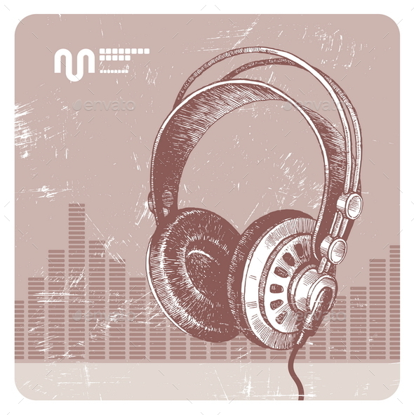 GraphicRiver Grunge Headphones 10556255