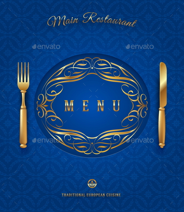 GraphicRiver Menu with Golden Cutlery and Ornate Elements 10556453