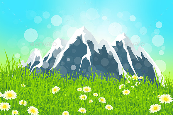 GraphicRiver Green Landscape with Mountains 10556456