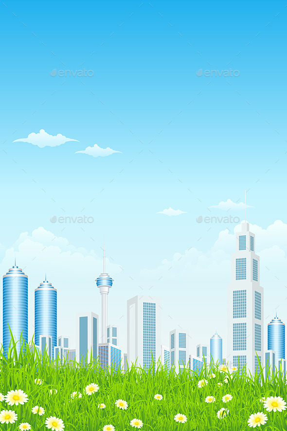 GraphicRiver Green Grass with Skyscrapers 10556459