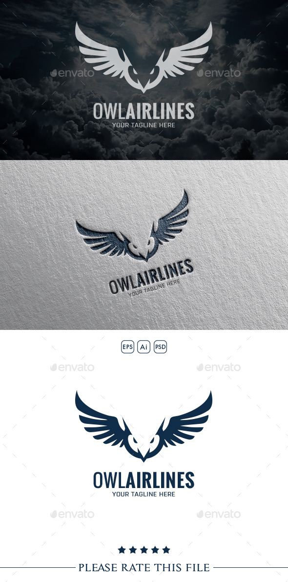 GraphicRiver Owl Airlines Logo 10556460