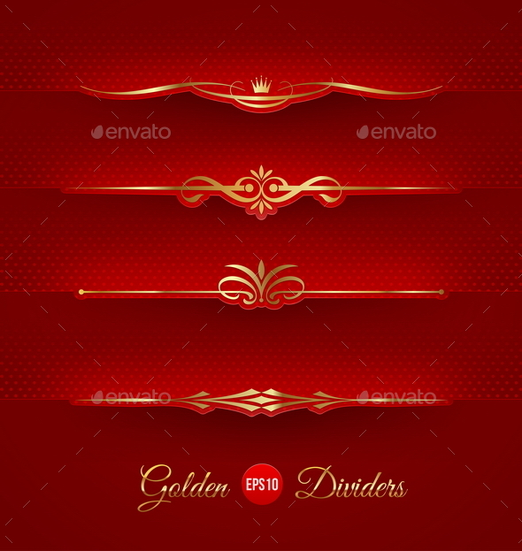 GraphicRiver Set of Golden Decorative Dividers 10556475
