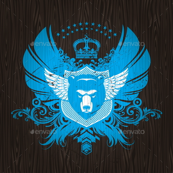 GraphicRiver Abstract Heraldic Emblem with Bear Head 10556540