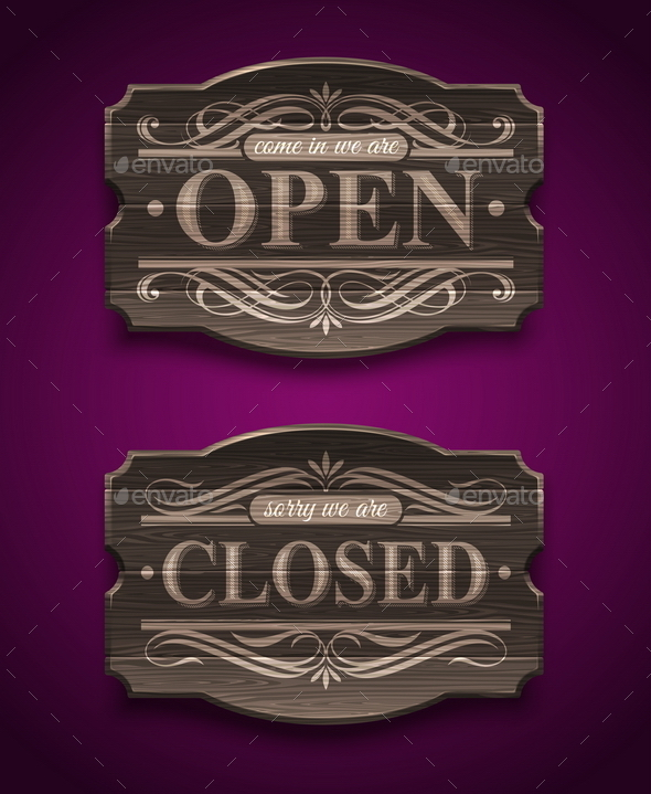 GraphicRiver Open and Closed Wooden Ornate Vintage Signs 10556547