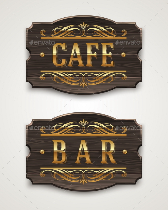 GraphicRiver Vintage Wooden Signboards for Cafe and Bar 10556637