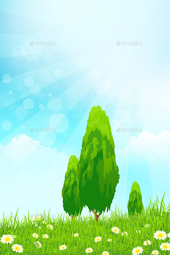 GraphicRiver Fresh Green Grass with Trees 10556647