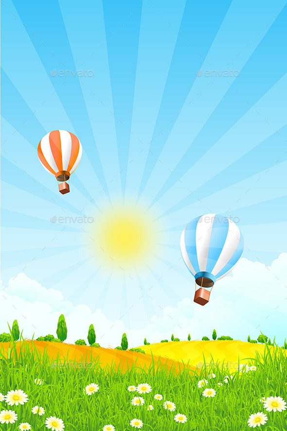 GraphicRiver Landscape with Hot Air Balloons 10556707