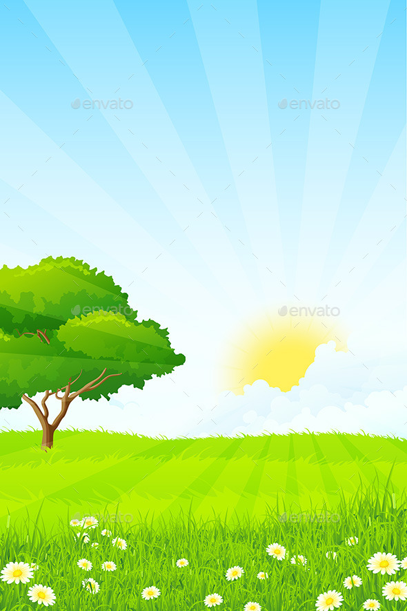 GraphicRiver Green Grass with Tree 10556719