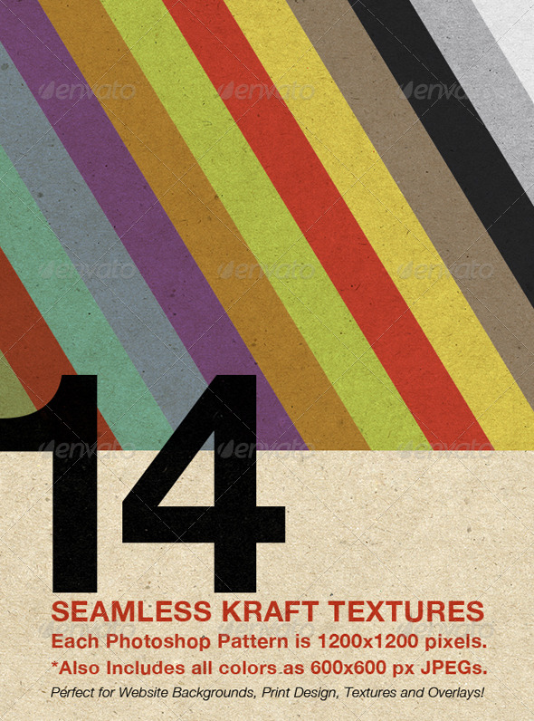 GraphicRiver Seamless Kraft Patterns 14 Colors 132476