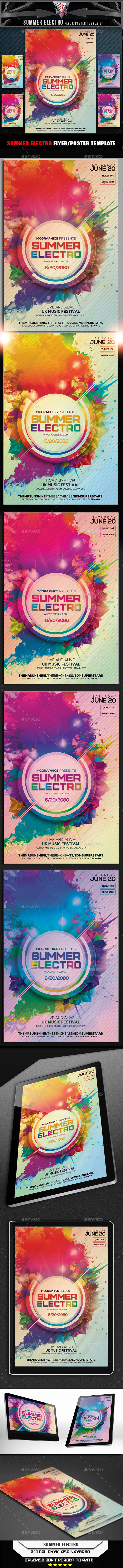 GraphicRiver Summer Electro Flyer Template 10556807