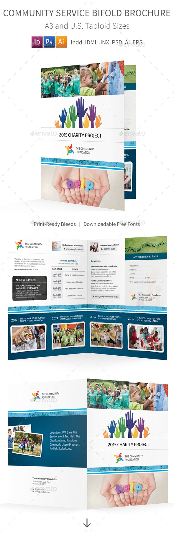 GraphicRiver Community Service Bifold Halffold Brochure 10557674