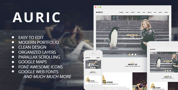 ThemeForest Auric One Page Modern Muse Template 10558191