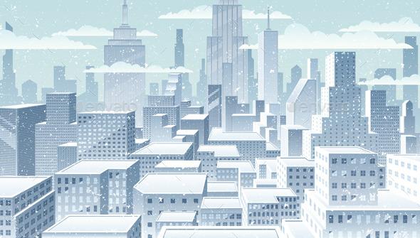 GraphicRiver Cityscape Winter 10558398