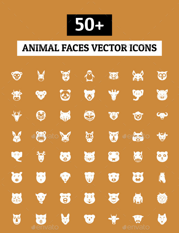 GraphicRiver 50& Animal Faces Vector Icons 10559964