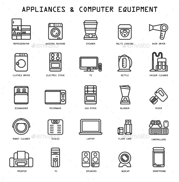 GraphicRiver Household Appliances Icons 10560060