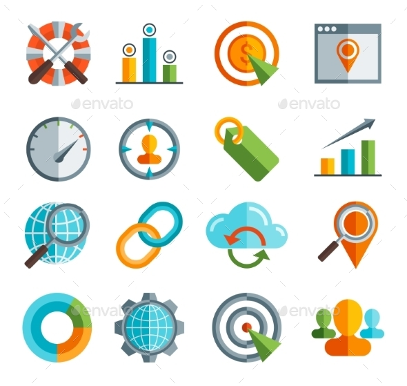 GraphicRiver Business SEO Social Media Marketing Icons 10560067