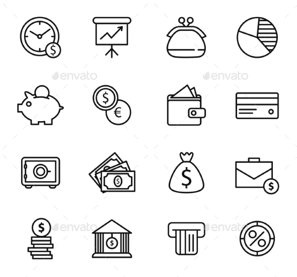 GraphicRiver Finance and Bank Icon Set 10560124