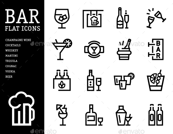GraphicRiver Alcohol and Bar Icon Set 10560128