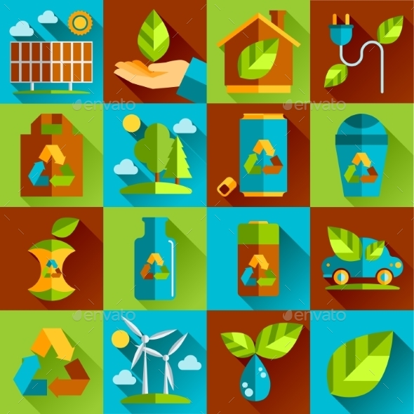GraphicRiver Ecology and Waste Flat Icons Set 10560140