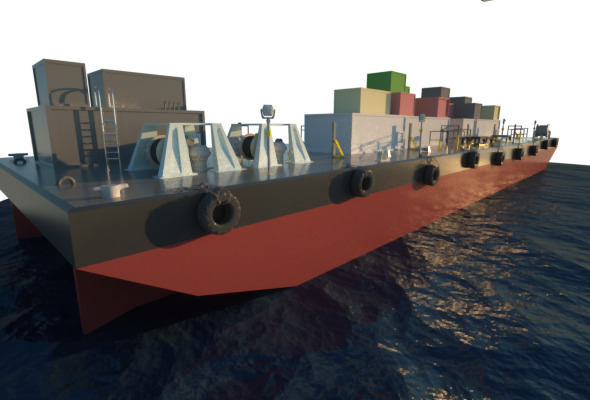 Deck Cargo Barge Vessel - 3DOcean Item for Sale