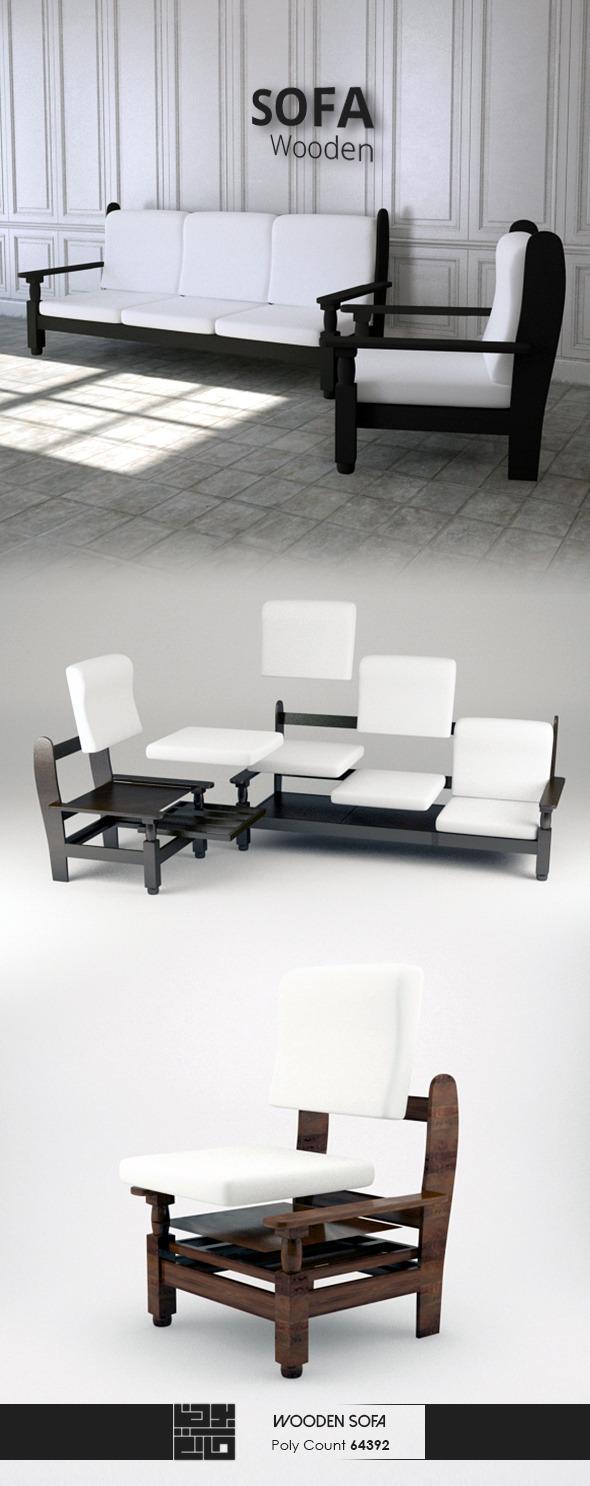 3DOcean Wooden Sofa 3D Model 10561061