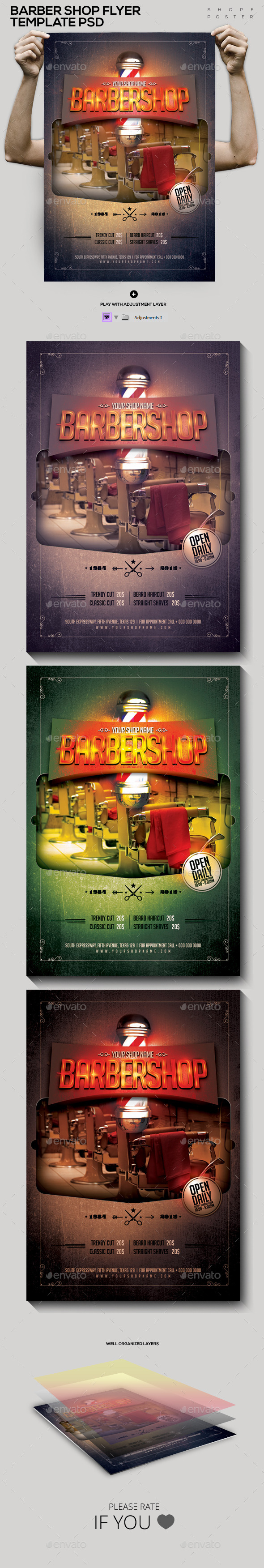 GraphicRiver Barber Shop Template PSD Flyer Poster 10561365