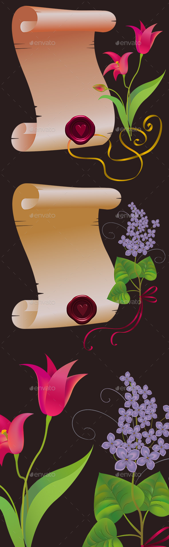 GraphicRiver Two Vintage Scrolls with Flowers 10561713