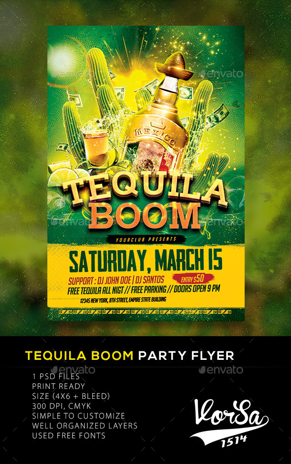 GraphicRiver Tequila Boom Party flyer 10561727