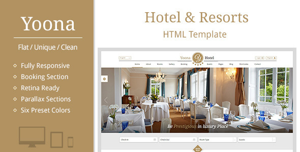 ThemeForest Yoona Hotel & Resort Responsive HTML Template 10519641
