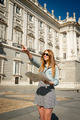 happy beautiful exchange student girl visiting Madrid city reading map - PhotoDune Item for Sale