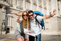 beautiful friends tourist couple on holidays students exchange tourism concept - PhotoDune Item for Sale