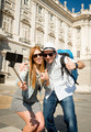 young tourist friends couple visiting Spain in holidays students exchange taking selfie picture - PhotoDune Item for Sale