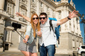 beautiful friends tourist couple visiting Spain in holidays students exchange taking selfie picture - PhotoDune Item for Sale