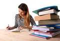 young student girl concentrated studying for exam at college library education concept - PhotoDune Item for Sale
