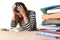 young stressed student girl studying and preparing MBA test exam in stress tired and overwhelmed - PhotoDune Item for Sale