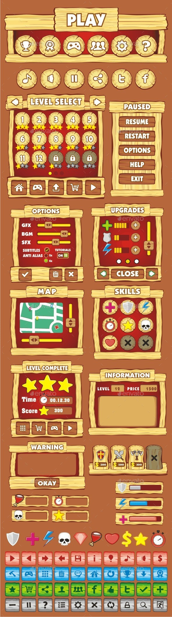 GraphicRiver cartoon game gui pack 11 10563663