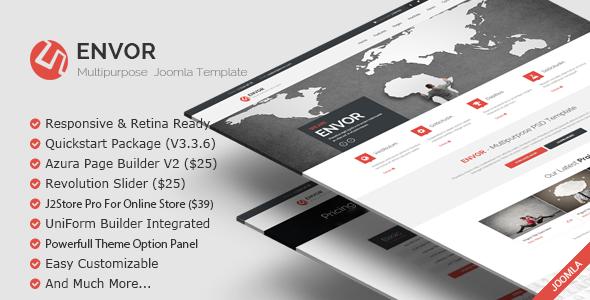 ThemeForest Envor Fully Multipurpose Joomla Template 10472316