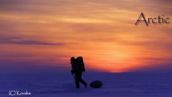 One Man In The Snow Desert