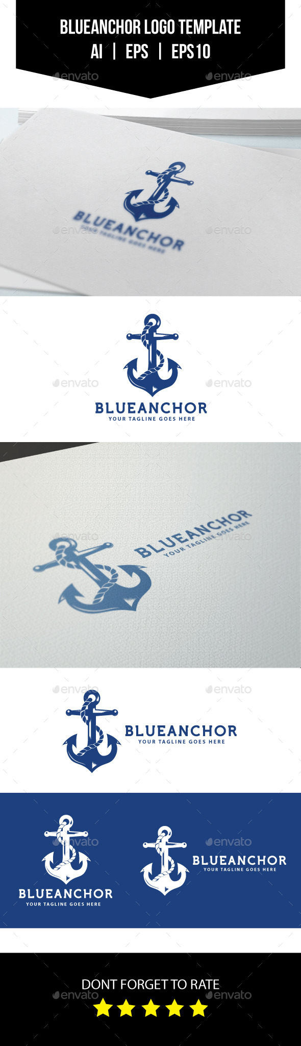 GraphicRiver Blue Anchor Logo Template 10564227